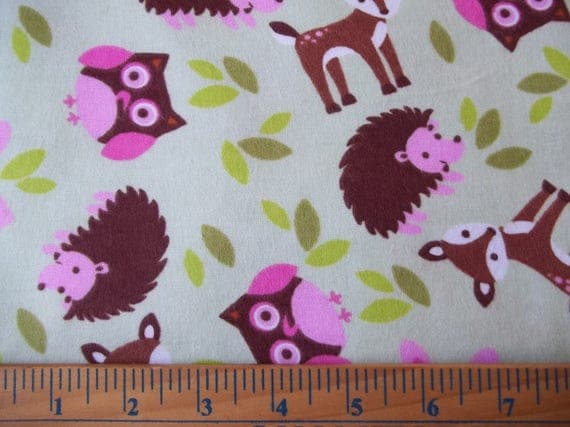 Woodland animals cotton flannel flannel fabric animal for Children s flannel fabric by the yard