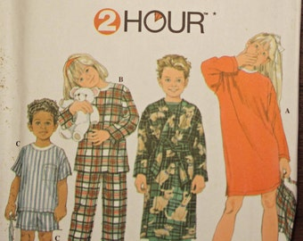 Girls Boys Size 5 6 7 & 8  2 Hour Simplicity Pajamas PJs Robe Nightshirt Night Gown Bag Booties Kids Child Children Sewing Pattern Sew Uncut