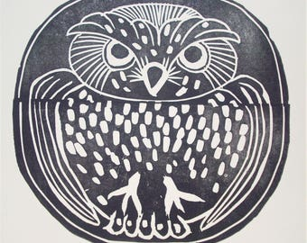 Owl Block Print