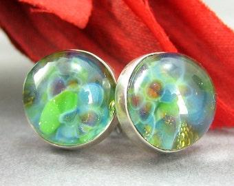 Lampwork Glass Earring Studs - Underwater Garden - Sterling Silver - 10mm Post