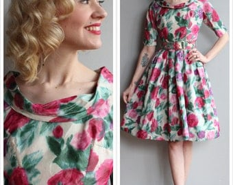1950s Dress // Suzy Perette Flower Garden Silk Dress // vintage 50s dress