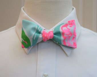 Men's Bow Tie, blue Going Stag, groomsmen gift, wedding party wear, aqua hot pink bow tie,  groom bow tie, Lilly menswear, tuxedo accessory