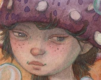 Mushroom Fairy...Original ACEO