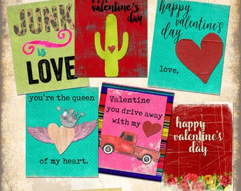 Funky Junkin Valentines Day Cards digital instant download printable love