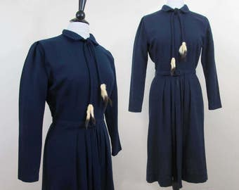 Navy Blue Wool dress with Weasel Tails trim - By Lombardy 1950s - M