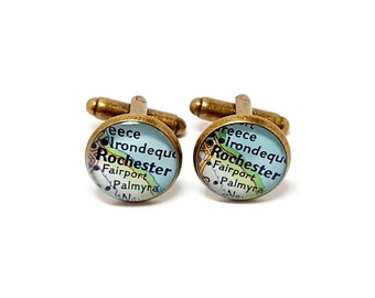 Rochester, New York 1972 Vintage Map Cufflinks. Ready To Ship. One Pair. Wedding Cufflinks. Map Gifts For Men. Groomsmen or Groom Gifts.