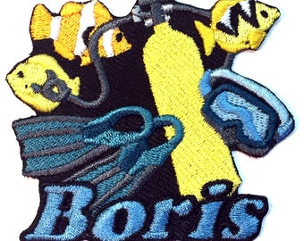 Iron on Patch Scuba Diving Name Personalized Free