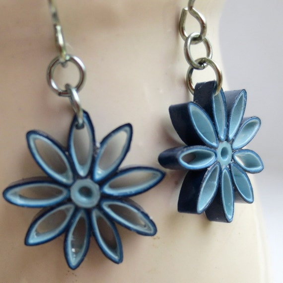 CIJ 30% off Blue Ombre Nine Pointed Star Earrings Eco Friendly Earrings Paper Quilling bridesmaid gift Baha'i Jewelry Hypoallergenic
