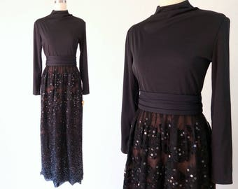 JACK BRYAN Formal Gown / Deadstock 1970s Red Carpet Dress / Sequined Vintage Dress