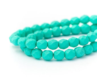 Fire Polished Faceted Czech Glass, Saturated Teal, Round Spacer Beads, Matte Opaque, 6mm x 25pc (0017)