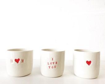 I love you heart mug valentines day handmade tumbler mug coffee cup