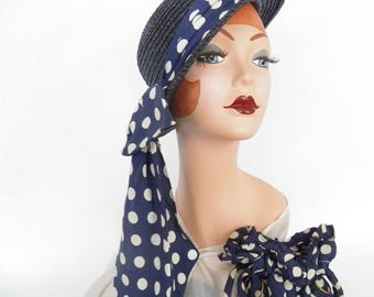 vintage tilt hat, 1940s navy blue boater, matching purse, polka dot