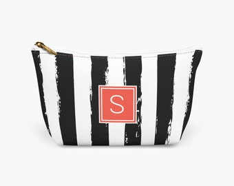 Zebra Stripe Monogrammed Cosmetic Bag, Personalized Black White Striped Makeup Bag, Women's Customized Toiletry Bag