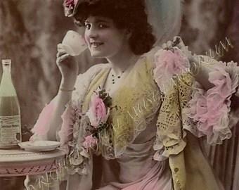 Pastel Tea Drinker Instant Download Vintage Photograph