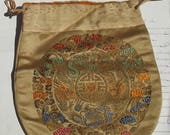 Antique French Art Deco Chinoiserie Evening Bag Hand embroidered drawstring pouch silk purse