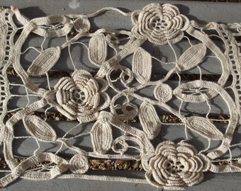 Pair of Antique French lace panels handmade Crochet cream lace runners
