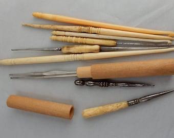 10 pc Celluloid Bone Ivory Sewing Notions Tools Crochet Hook Bobbin Lot 2   NEP12