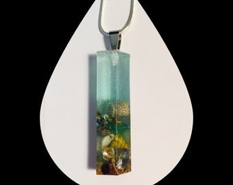 Beach Scene Pendant with shells and sand