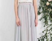 Long Grey chiffon skirt, maxi skirt