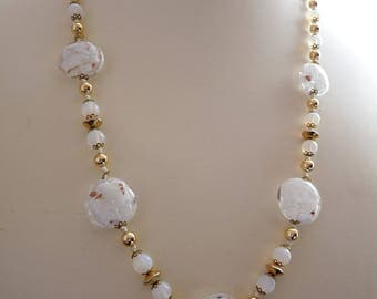 Vintage White Venetian Murano Glass Bead Necklace Hand Knotted