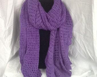Lacy Hand Knit Scarf/ Shawl