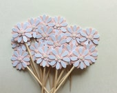 24 flowers cupcake topper Daisy flower pastel Baby Shower Cupcake Toppers/party Food Picks