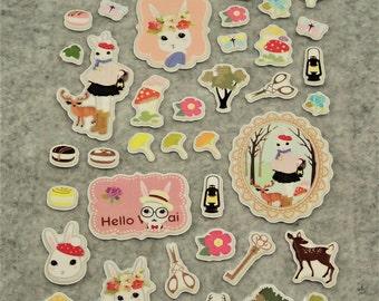 Mixed Sweet Puffy Elegant Bunny Stickers - PE01