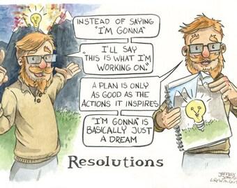Life With Girls Resolutions 2 Original Comic Art