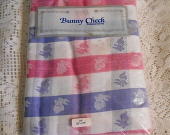 Darling Pink White & Blue BUNNY RABBIT TABLECLOTH Pastel Buffalo Check Gingham, Woven Washable Cotton 52 x 70 Unused New Vintage India Made