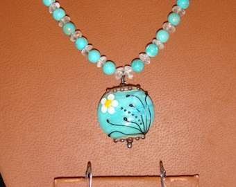 Turquoise and Apatite Necklace and Earring Set with Lampwork Glass Pendant