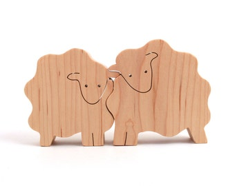 Wood Sheep Figurines, Wooden Farm Animals, Country Home Decor, Easter Decoration, Maple