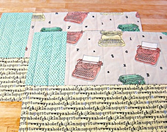 Set of 2 Placemats, Quilted Placemats, Retro Placemats, Mid Century Modern, Vintage Typewriter, Fabric Placemats, Retro Decor