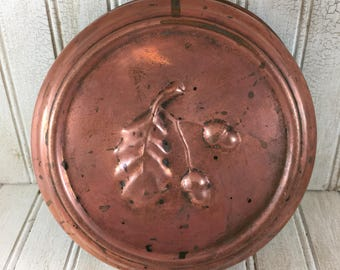 Vintage Copper Oak Leaf & Acorn Food Mold