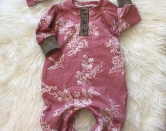 Mauve baby romper available in sizes preemie to 3t