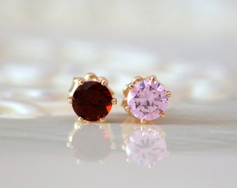 Mismatched Studs, Valentine Earrings, Pink Cubic Zirconia and Garnet Jewelry, Genuine Gemstone, Gold Filled Posts, Free Shipping