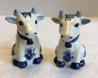 Vintage Cow Salt and Pepper Shakers Blue and White