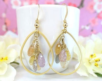 Rainbow sapphire cluster gold tear drop earrings, mixed rainbow tear drop sapphire hoop earrings, rainbow candydrop earrings