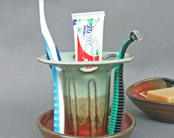 Toothbrush Holder Shaving Razor Stand Large Capacity 6 Slots Iron Red and Green Glaze EACH ONE UNIQUE