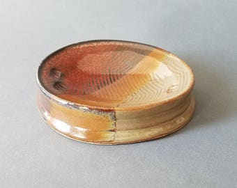 Concave Oval Textured Soap Dish in Sunset Earth Tones Handmade Pottery