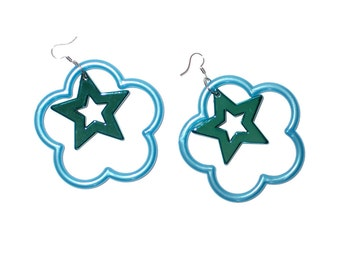 90s Big Plastic Pastel Flower and Star Daisy Earrings