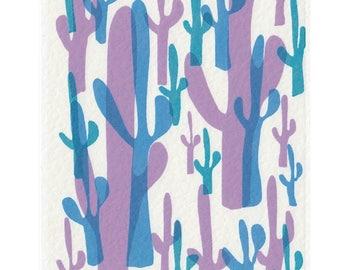 Cactus Print // Mid Century Modern Art Print // A5 Print Southwestern