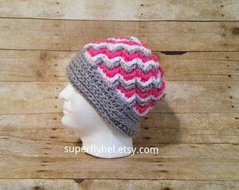 Aspen Peaks Beanie, Winter Hat, Chunky Hat, Pink White Grey Unisex Beanie, Ski Hat, Hot Pink Gray and White Beanie Cap