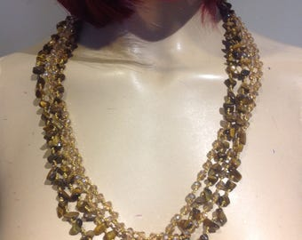 TIGER Eye And Crystals 3 MULTI Strand GOLDEN Crochet Necklace