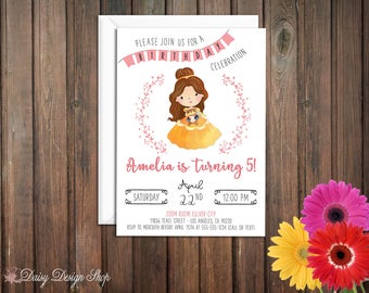 Birthday Party Invitations - Princess Belle and Laurel in Watercolor Style - Beauty and the Beast - Set of 20 with Envelopes