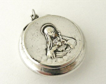RESERVED for MATTHEW Silver plated rosary locket box Sacred Heart of Mary  , Antique French