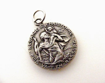 Old French hallmarked silver St Christopher and our Lady of Lourdes medal, travelers talisman.