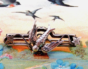 Victorian sterling silver sweetheart brooch swallow and ivy