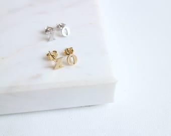 XO Stud Earrings,  X and O Stud Earrings, xoxo, Hug & Kiss, Everyday Earrings.