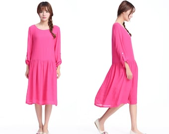 EASY to WEAE/ Lovely Silk Linen Blend Pleated Low- waisted Dress with adjustable sleeve length/ 27 Colors/ RAMIES