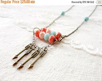 30% OFF CHRISTMAS SALE Boho chic turquoise, peach, and bronze layered bead and arrow necklace, boho chic necklace, Desert Sunset